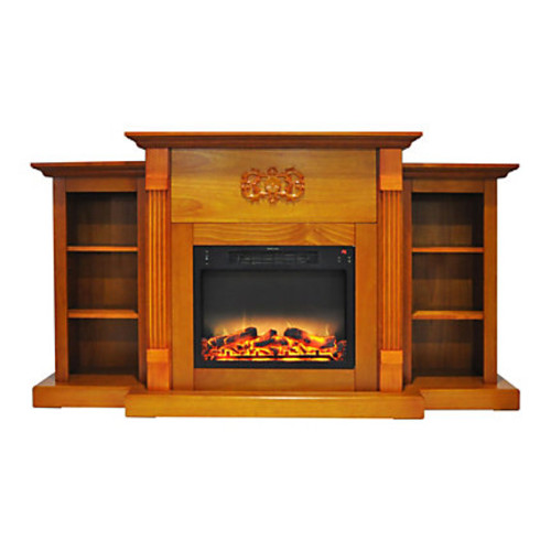 Cambridge Sanoma Electric Fireplace With Built-In Bookshelves And Enhanced Log Display, Teak