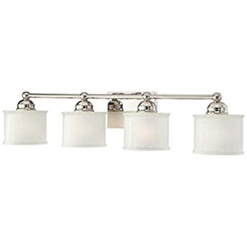 Minka Lavery 6734-1-613, 1730 Series Reversible Wall Vanity Lighting, 4LT, 400w, Polished Nickel [7, 32.5 in. W x 7.75 in. D x 7.5 in. H]