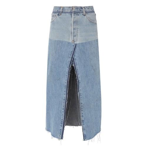 RE/DONE Seamed Denim Midi Skirt
