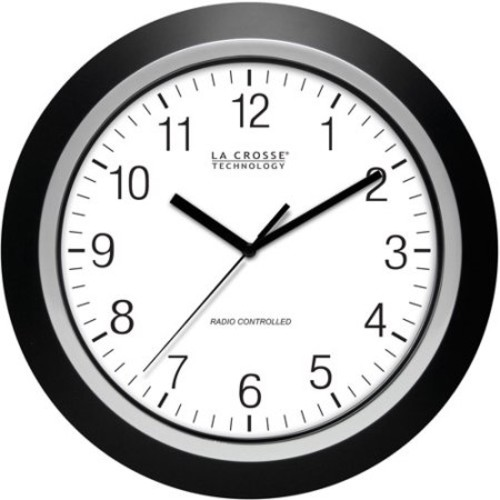 La Crosse Technology 404-1236 13.5 Inch Analog Atomic Black wall clock