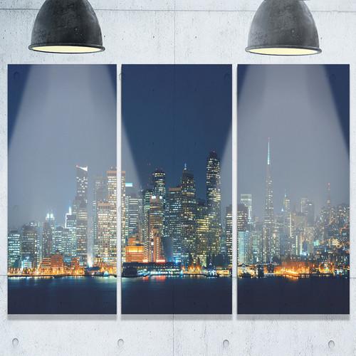 Designart - San Francisco Skyline at Night - Cityscape Glossy Metal Wall Art