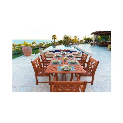 Malibu Eco-Friendly 7-Piece Wood Outdoor Dining Set with Rectangular Extension Table V232SET8