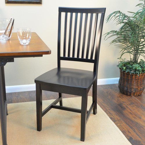 Carolina Cottage Hudson Antique Black Wood Dining Chair