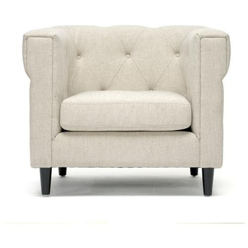 Baxton Studio Cortland Beige Linen Modern Chesterfield Chair - Linen Beige Seat - Linen Beige Back - Birch Wood Frame - Four-legged Base - 23