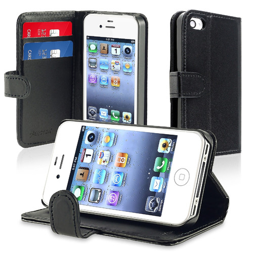 Insten 434994 Stand Folio Flip Leather Wallet Flap Pouch Case Cover Compatible With Apple iPhone 4/4S, Black