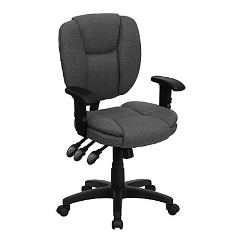 Flash Furniture Fabric Mid-Back Multifunction Ergonomic Swivel Task Chair With Adjustable Arms, Gray/Black