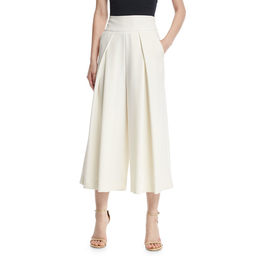 MILLY Italian Cady Pleated Wide-Leg Culottes, White