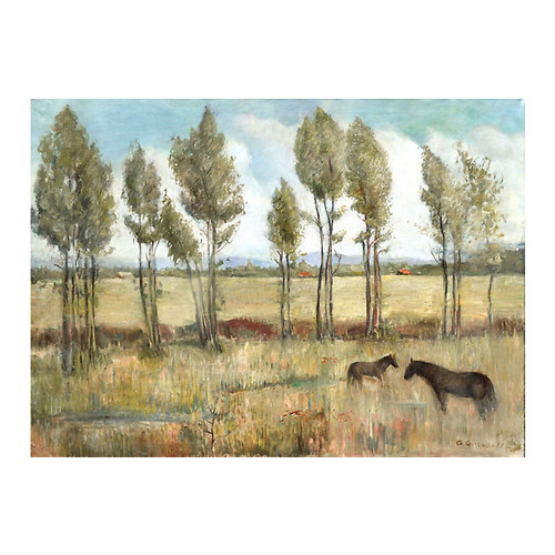 Plein Air Horses and Trees