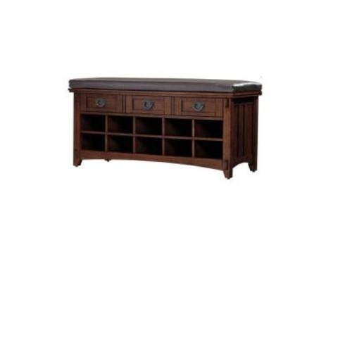 Home Decorators Collection Artisan Dark Oak 3-Drawer Bench with Shoe Storage