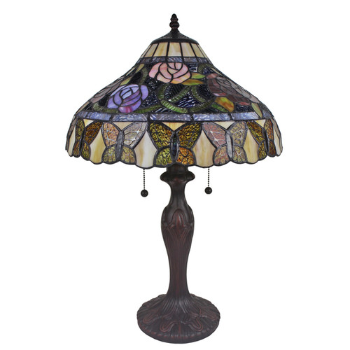 Amora Lighting Tiffany Style Roses And Butterflies Table Lamp 24 Inches