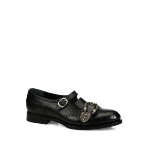 GUCCI Queercore Leather Mary Janes Brogue Shoes