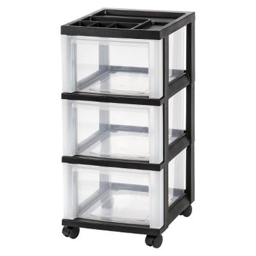 IRIS 3 Drawer Rolling Storage Cart, Black