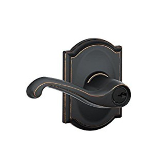 Schlage F51A FLA 716 CAM Camelot Collection Flair Keyed Entry Lever, Aged Bronze [Aged Bronze, Keyed]