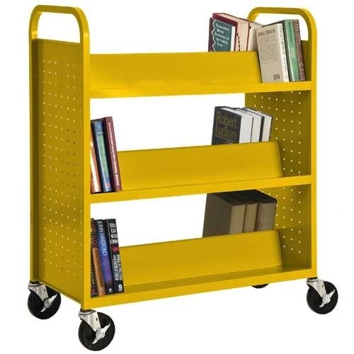 Sandusky Lee SV336-EY Double Sided Sloped Shelf Welded Book Truck, 19