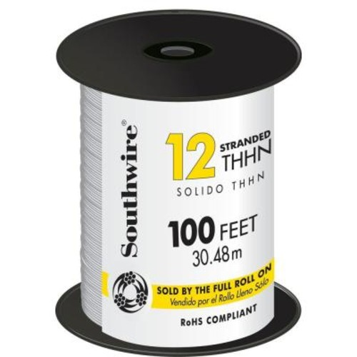 Southwire 100 ft. 12 White Stranded CU THHN Wire