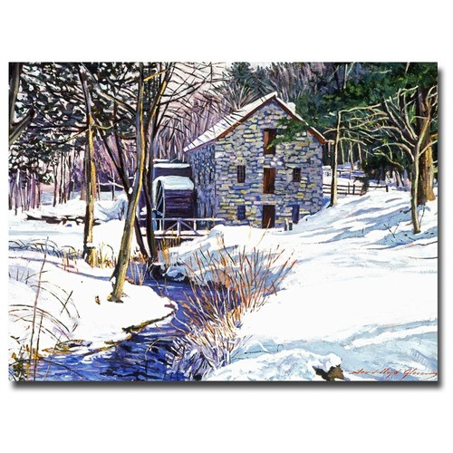 David Lloyd Glover 'Snow Mill' Canvas Art