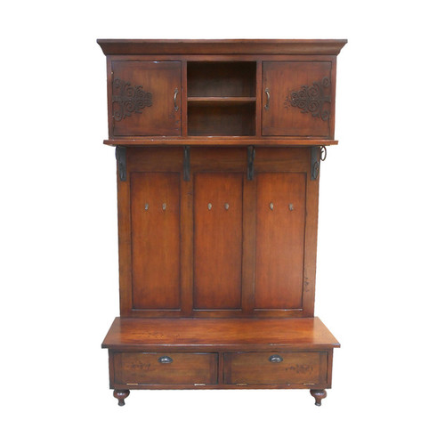 Guildmaster Scrolled Iron Hall Cabinet with Bench Storage