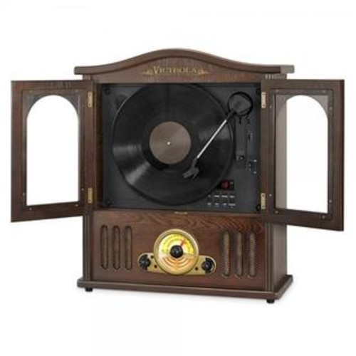 Innovative Technology Victrola Wood Wall Mount Turntable with CD and Bluetooth