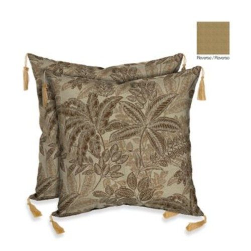 Bombay 16-Inch Palmetto Throw Pillow in Mocha (Set of 2)