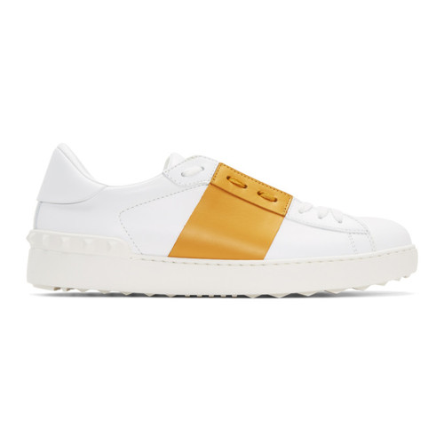 VALENTINO White & Yellow  Garavani Open Sneakers