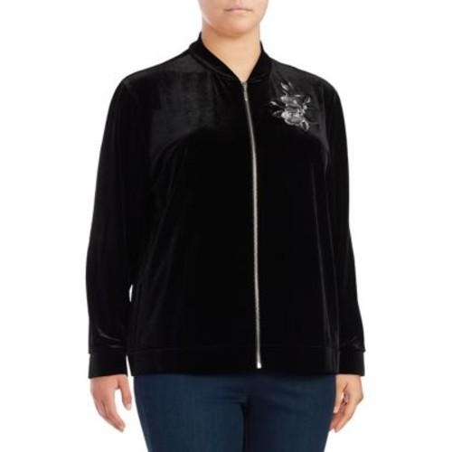 Plus Embroidered Velvet Jacket