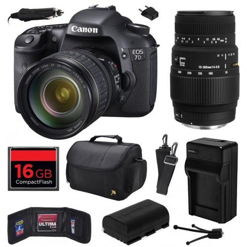 Canon EOS 7D SLR Camera with 28-135mm + 70-300mm DG Lens (16GB Value Bundle)