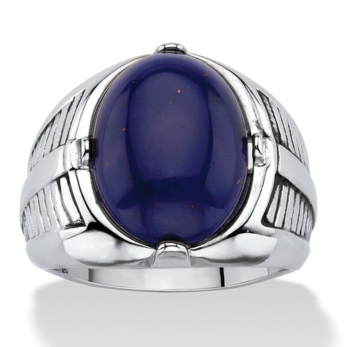 Men's Oval-Cut Genuine Blue Lapis Etched Cabochon Ring Platinum-Plated [option : 8]