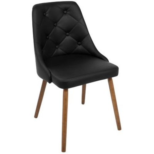 LumiSource Giovanni Mid-Century Modern Dining Chair in Walnut and Black Quilted PU (CH-GIOV WL+BK)