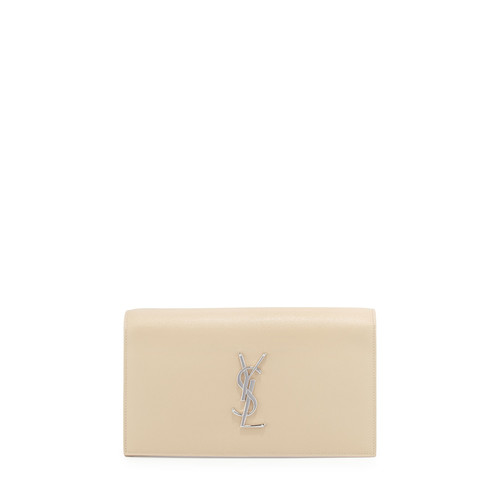 SAINT LAURENT Monogram Grain Calfskin Clutch Bag, Nude Powder