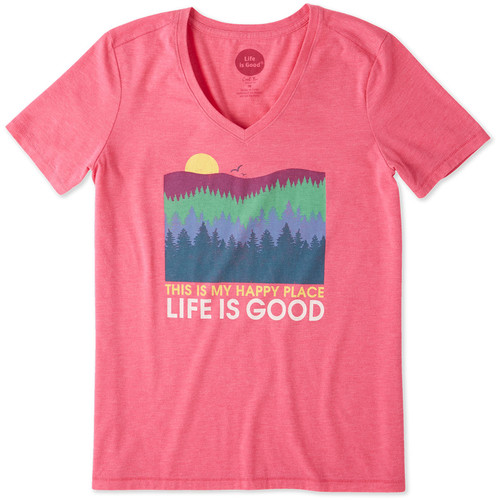LIFE IS GOOD Womens Happy Place Trees Cool Vee Tee