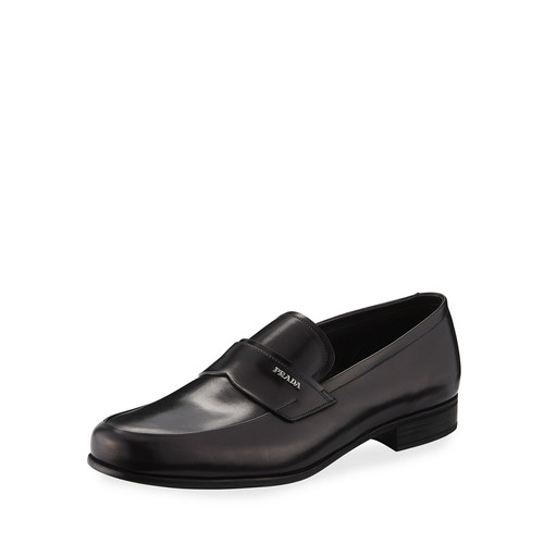 PRADA Leather Slip-On Loafer