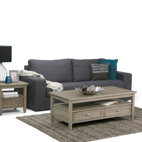 Simpli Home Distressed Grey Built-In Media Storage Coffee Table