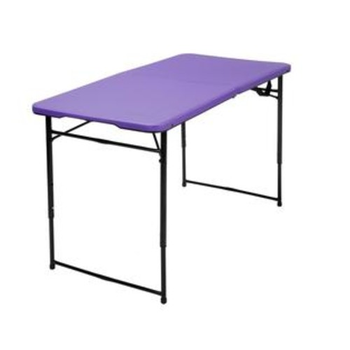 COSCO 4' Height Adjustable Folding Tailgate Table in Purple