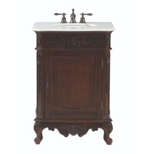 Home Decorators Collection Winslow 26 in. W Vanity in Antique Cherry with Marble Vanity Top in White with White Basin