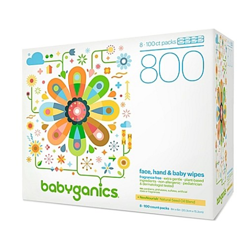 Babyganics Fragrance-Free 800-Count Face, Hand, and Baby Wipes