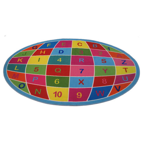 Alpha and Numeric Globe Multi-colored Accent Rug (6'8 x 10')