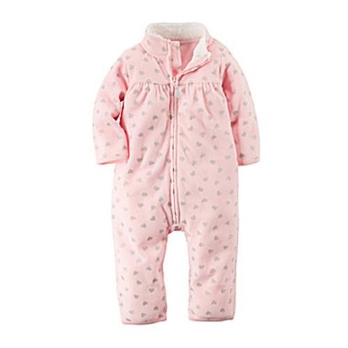 Carter's Heart-Print Fleece Jumpsuit - Baby Girls newborn-24m