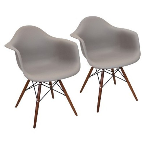 Neo Flair Mid Century Modern Espresso Wood Legged Dining Chair Polycarbonate/Cappuccino - LumiSource