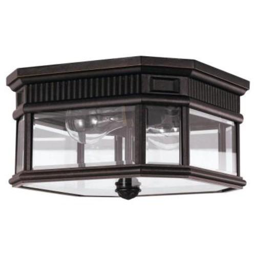 Feiss Cotswold Lane 2-Light Grecian Bronze Outdoor Ceiling Fixture