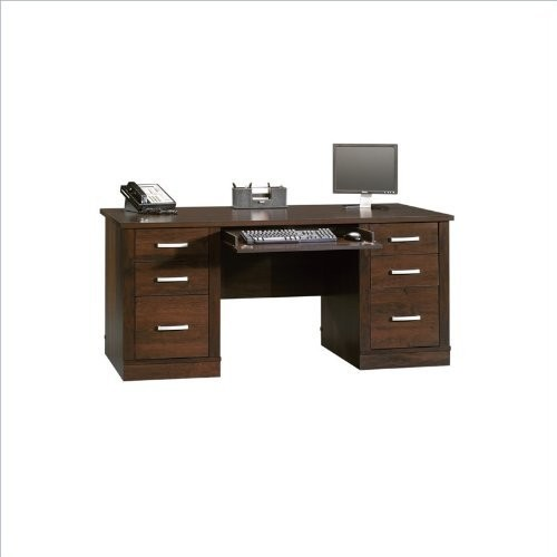 Sauder Office Port Executive Desk in Dark Alder [Walnut]