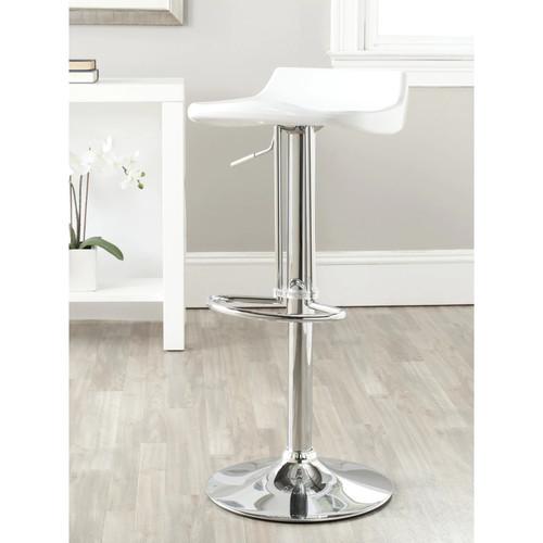Safavieh Avish White Adjustable 24-32-inch Bar Stool