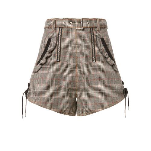SELF-PORTRAIT Checked Double Zip Shorts