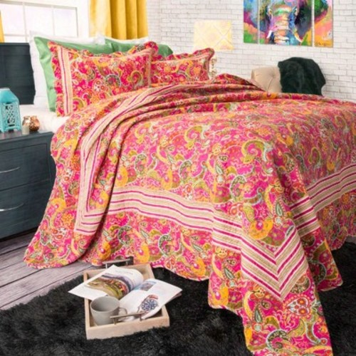 Paisley Quilt Set (Full/Queen) Multicolored 3pc - Yorkshire Home