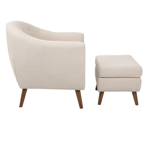Rockwell Mid-Century Modern Chair with Ottoman