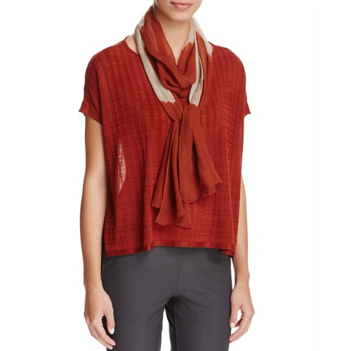 EILEEN FISHER Color-Block Silk Scarf