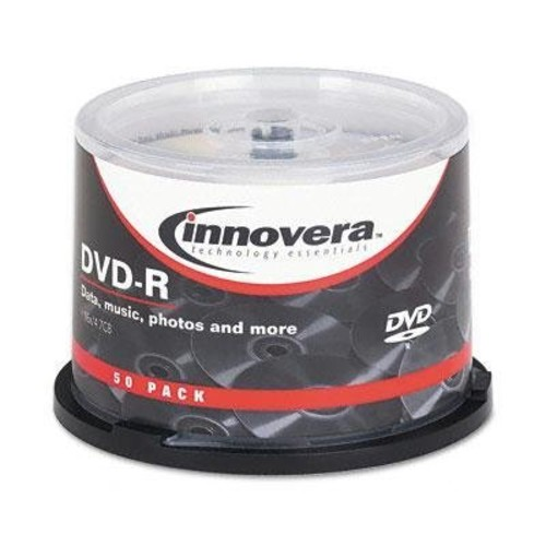 Innovera DVD-R Discs 4.7GB 16x Spindle Silver 50/Pack Large Storage Capacity Write-Once