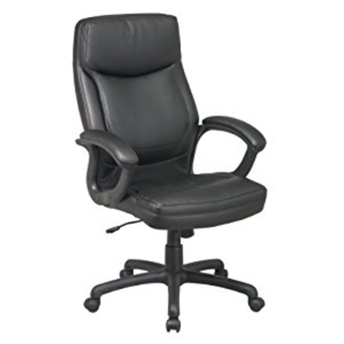 Office Star High Back Thick Padded Contour Seat and Back Eco Leather Executive Chair with Locking Tilt Control with Matching Stitching, Black [Black]