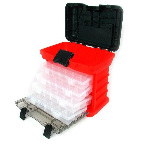 Stalwart 75-3182 Hawk 73 Compartment Durable Plastic Storage Tool Box, Red