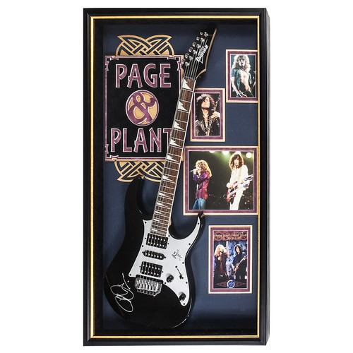 Jimmy Page and Robert Plant  Autographed Electric Guitar Signed in Framed Case