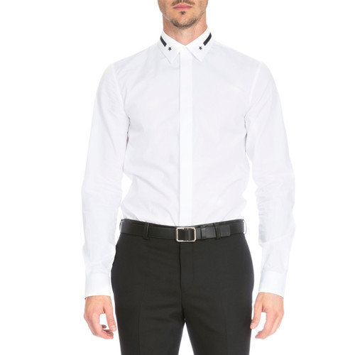 GIVENCHY Star & Stripe-Collar Button-Down Shirt, White